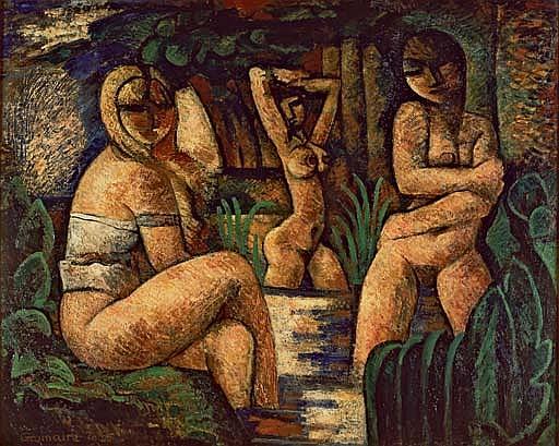 Les paysannes au bain