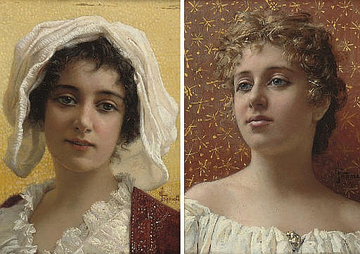 Girl with the gold broach; and Girl in a white bonnet