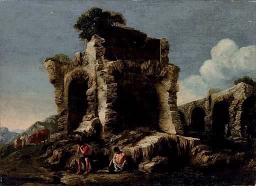 Paesaggio con rovina e pastori