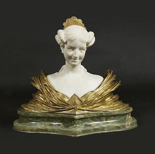 A FRENCH GILT-BRONZE AND MARBLE BUST OF A BELLE EPOQUE LADY