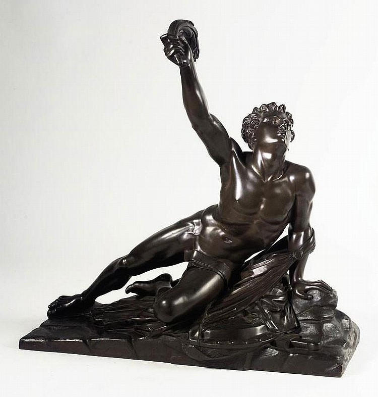 A FRENCH BRONZE FIGURE OF THE SOLDIER OF MARATHON ANNOUNCING THE VICTORY