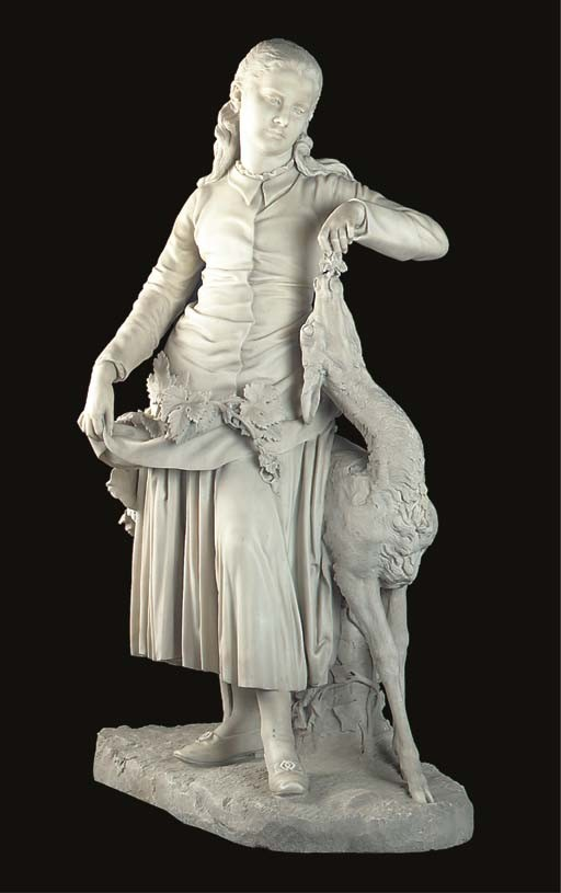 A large English sculpted white marble figure of a girl