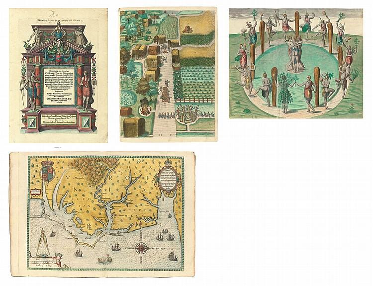 BRY, Theodor de (1528-1598).  Wunderbarliche, doch Warhafftige Erklärung, von der Gelegenheit und Sitten der Wilden in Virginia welche newlich von den Engelländern so im Jahr 1585 . Frankfurt: Johann Wechel, 1590.