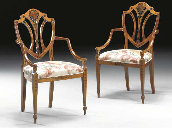 A PAIR OF LATE VICTORIAN POLYCHROME-PAINTED SATINWOOD ARMCHAIRS