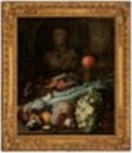 ATTRIBUTED TO HIERONYMUS GALLE THE ELDER (ANTWERP 1625-1679) Celery, mushrooms, grapes and other fruits on a ledge, with a bust and a sculpted vase