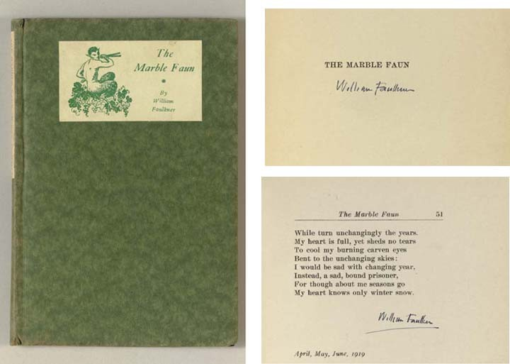 FAULKNER, William (1897-1962). <I>The Marble Faun.</I> Boston: Four Seas Company, 1924.