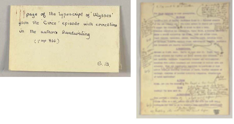 JOYCE, James (1882-1941). Typescript carbon page from the