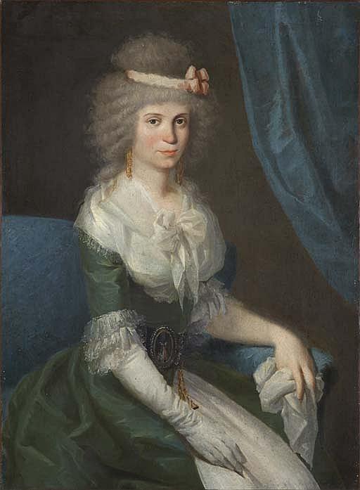 Retrato sedente de una dama de tres cuartos con un traje verde con encajes en cuello y mangas