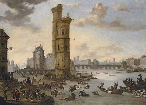 Horsemen bathing their mounts at the Tour de Nesle with the Porte de Nesle and the Pont-Neuf beyond, Paris