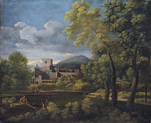 An Italianate landscape with the tomb of the Vestale Cossinia on the bank of the Aniene River, Tivoli
