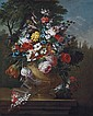 Roses, tulips, carnations, chrysanthemums and other flowers in a classical urn, on a ledge, Gasparo Lopez, Click for value