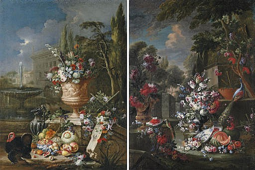 Tulips, roses, lily-of-the-valley and other flowers in an urn, with fruit in a porcelain bowl, a silver ewer and a turkey, a fountain and house beyond; and Tulips, roses, lily-of-the-valley and other flowers in an urn, with fruit by a porcelain