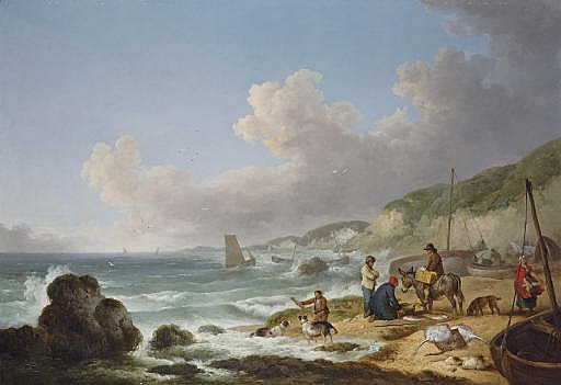 A view of Gurnhards Bay, near Cowes, Isle of Wight, with fisherfolk on the shore
