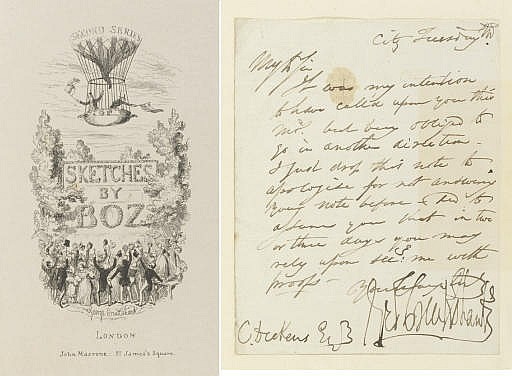 CRUIKSHANK, George (1792-1878).  Sketches by Boz. Both Series. Proofs of the Etchings.  1836.