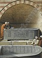 Figures in a tomb examining basalt sarcophogae, Cairo , Luigi Mayer, Click for value