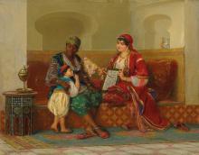 Jan Baptist Huysmans (Belgian, 1826-1906) - Learning to read
