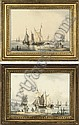 The fishing fleet drying their sails ; and  The fishing fleet unloading their catch, William (1757) Anderson, Click for value