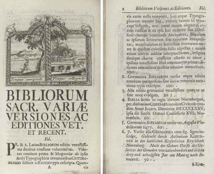UFFENBACH, Zacharias Conrad von (1683-1734) -- <I>Bibliotheca Uffenbachiana universalis sive