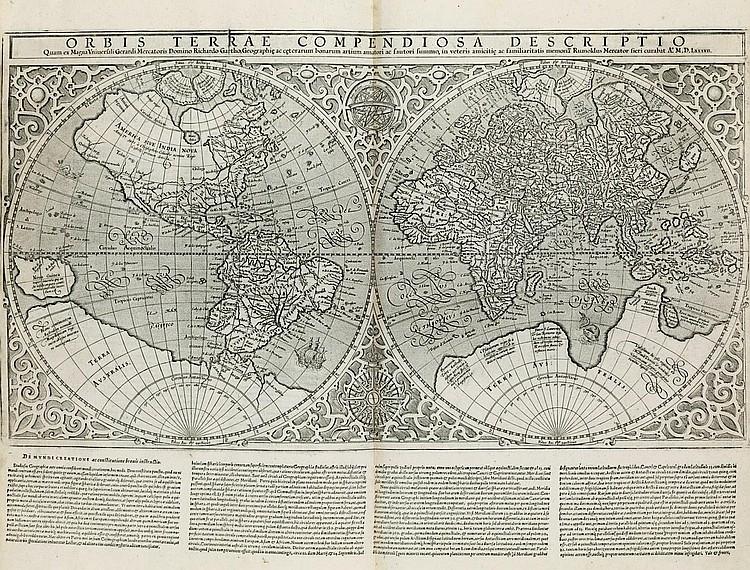 MERCATOR, Gerard (1512-94).  Atlas sive cosmographicae meditationes de fabrica mundi et fabricati figura.  [Edited by Rumold Mercator (1545-99).] Duisburg: Albert Buys for the author's heirs, 1595.