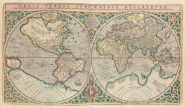 MERCATOR, Gerard and Jodocus HONDIUS (1563-1611).  Atlas sive cosmographicae meditationes de fabrica mundi et fabricati figura.  Amsterdam: Joducus Hondius, 1616.