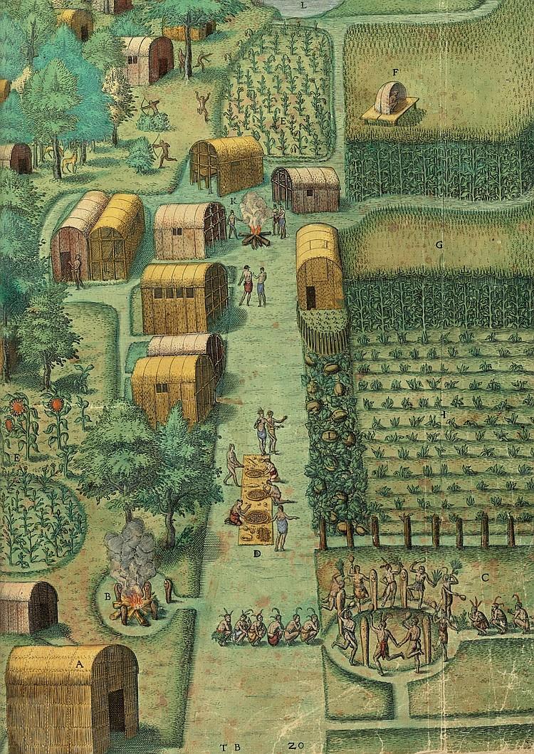 BRY, Theodor de (1561-1623).  Wunderbarliche, doch Warhafftige Erklärung, von der Gelegenheit und Sitten der Wilden in Virginia welche newlich von den Engelländern fo . Frankfurt: Johann Wechel, 1590.