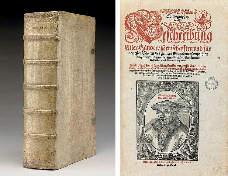 MÜNSTER, Sebastian (1489-1552).  Cosmographey, das ist, Beschreibung aller Länder, Herrschafften und fürnemesten Stetten des gantzen Erdbodens.  Basel: Sebastian Henricpetri, 1598.