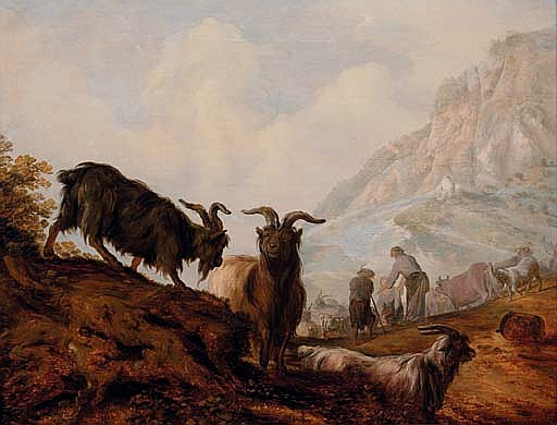 Peasants and goats in a mountainous landscape