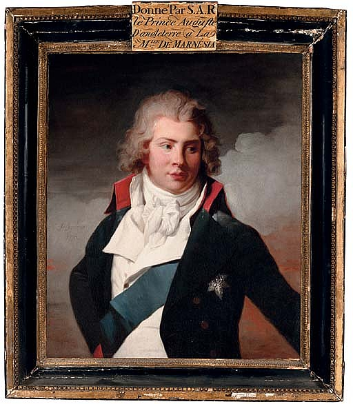 Portrait of Augustus Frederick, Duke of Brunswick-Luneburg, third son of George III, half-length, in a blue coat