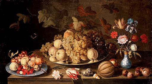 Grapes and pears on a pewter plate, with apples, cherries and grapes on a  Wanli  plate, flowers in a vase and a melon, nuts and shells on a tabletop