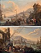 Capricci  port scenes with figures on the quay, Franz de Paula Ferg, Click for value