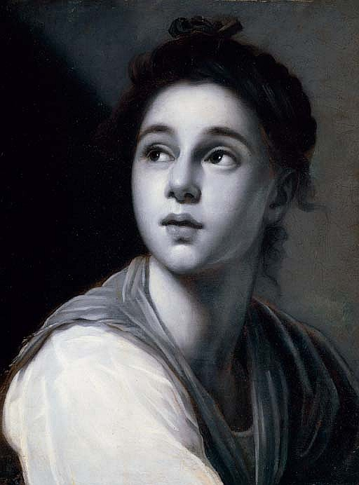 A young woman,  en grisaille