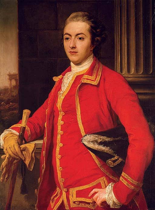 Portrait of a gentleman, said to be John Sadler, half-length, in a red coat, holding a cane and glove in his right hand, a tricorn hat under his left arm, a landscape beyond