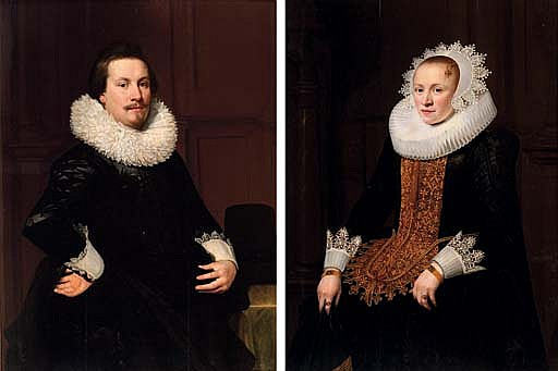 Portrait of a gentleman, three-quarter-length, in a black coat and lace collar; and Portrait of a lady, three-quarter-length, in a black dress with gold trim and a lace collar and headdress