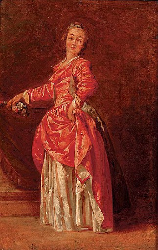 A lady in a red dress in an interior