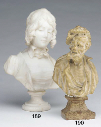 A Venetian white marble bust of a bearded elderly gentleman, 18th century