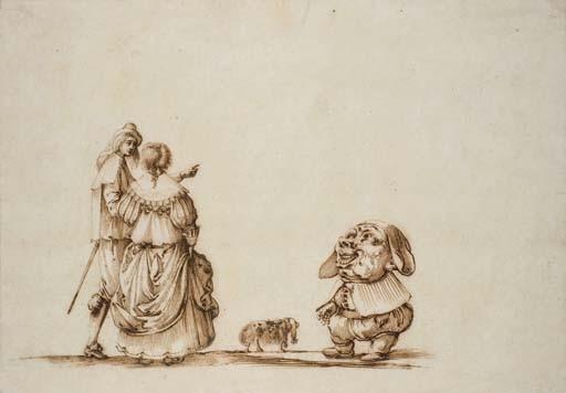 Un couple marchant avec un chien, un nain devant eux