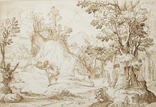 Un homme poursuivi par un lion dans une forêt