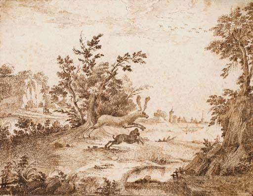 Un chien coursant un cerf dans un paysage arboré, une ville dans le lointain