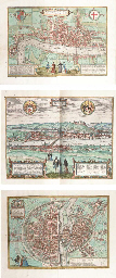 BRAUN, Georg (1541-1622) and Frans HOGENBERG (1535-1590). Civitates Orbis Terrarum. Cologne: Godfried von Kempen, 1588, 1575, 1588, 1588, n.d. and 1618.