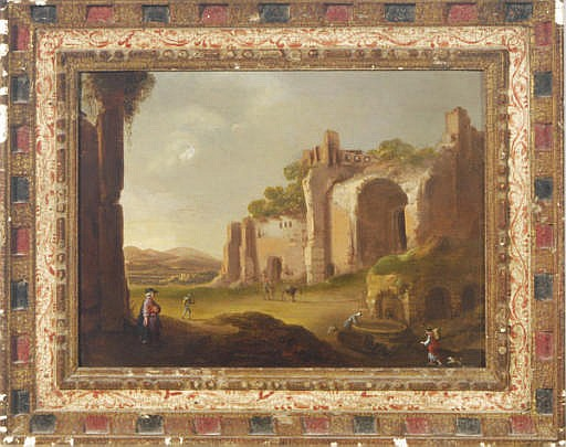 An Italianate landscape with figures amongst ruins
