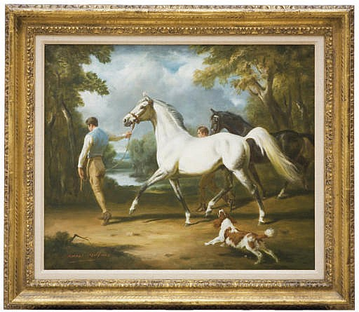 Two horses with grooms and a spaniel in a landscape