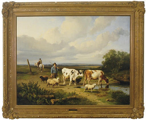 Shepherd with sheep and cattle near a watering hole