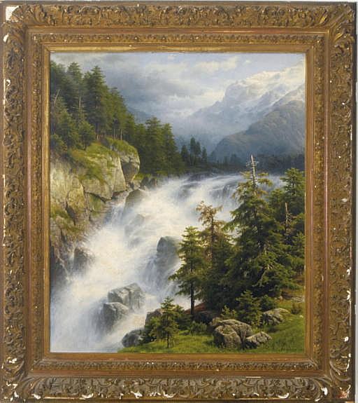 Waterfall in an Alpine landscape