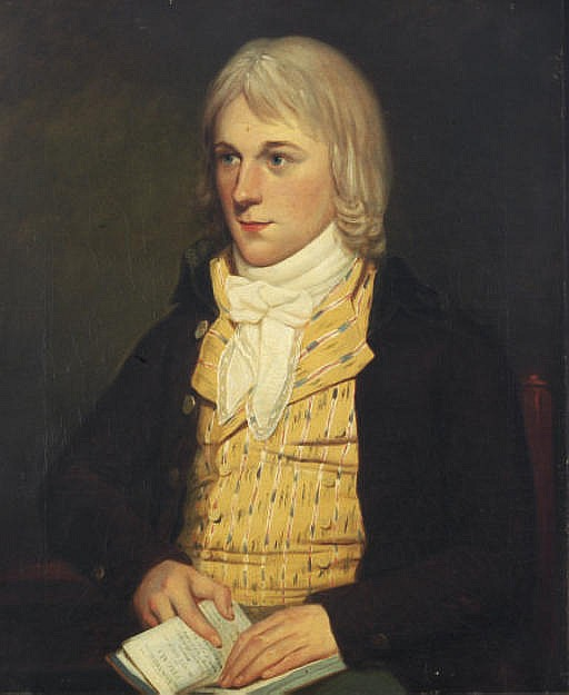 Portrait of a gentleman, bust-length, seated in a yellow vest and brown coat, holding a book of poetry