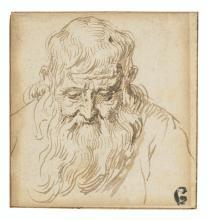 JACQUES DE GHEYN II (Antwerp 1565-1629 The Hague) - Head of a bearded man looking down