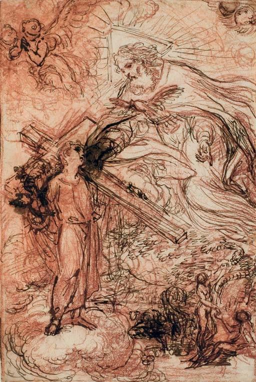 Dieu le père apparaissant au Christ enfant portant la croix sur des nuages et Adam et Eve au Paradis