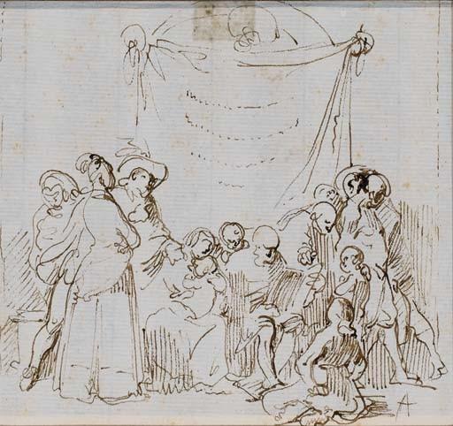Vieillard lisant entouré d'hommes, de femmes et d'enfants