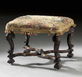 A WILLIAM AND MARY WALNUT STOOL