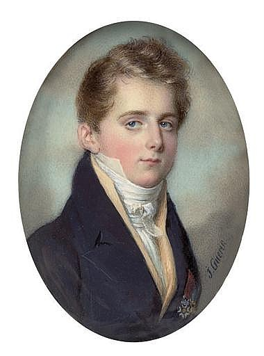 A young gentleman, in blue coat, buff-coloured waistcoat and knotted white cravat, wearing the badges of the Royal French Order of the Legion of Honour (Knight's cross), and of the Polish Order Virtuti Militari (Knight's cross)