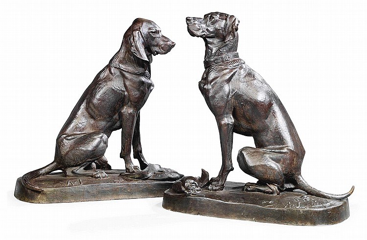 A PAIR OF FRENCH LIFE-SIZE MODELS OF HOUNDS ENTITLED 'DEUX CHIENS ASSIS'